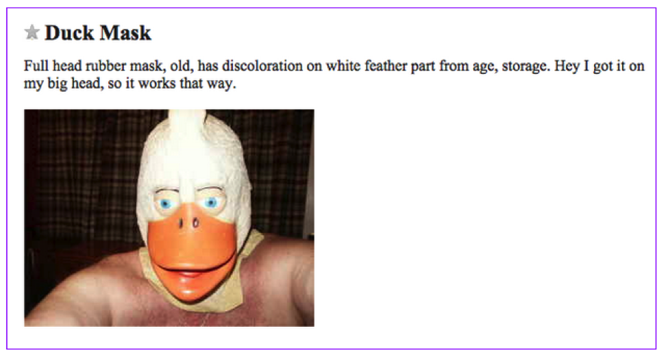 Craigslist Ads duck mask